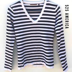 525 America Striped V-neck Long Sleeve Sweater